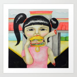 Coming to America: Burgers for Bad Girls Art Print