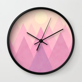 Soft Pastel Candy Abstract Geometric Mountains Landscape with Rising Sun in Blush Rose, Violet and Light Cream Colors Wall Clock
