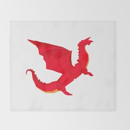 Origami Red Dragon Throw Blanket