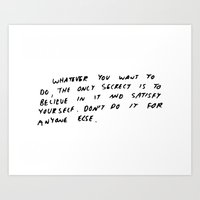 keith haring Art Prints featuring Keith Haring quote in his own handwriting by Lance Gutin