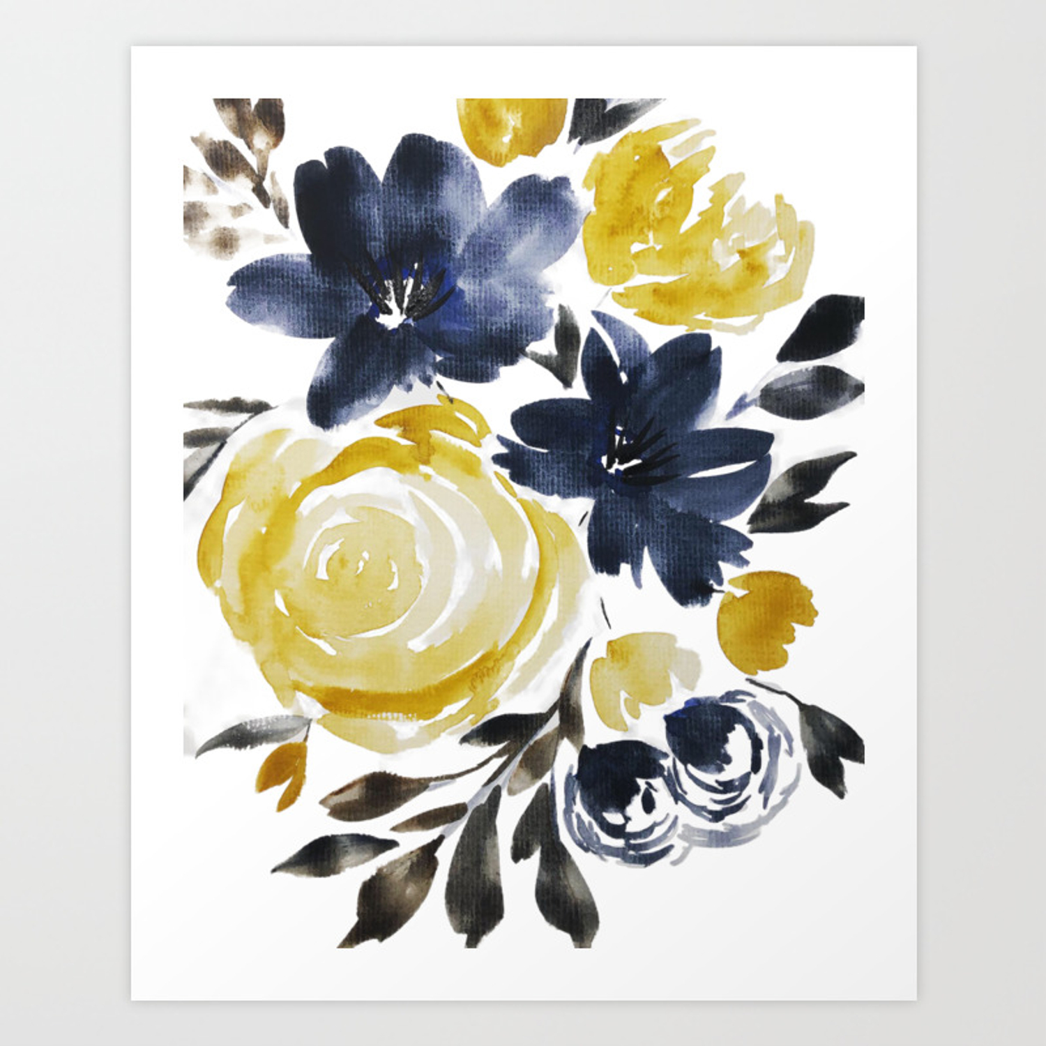 Navy And Yellow Loose Watercolor Floral Bouquet Art Print By