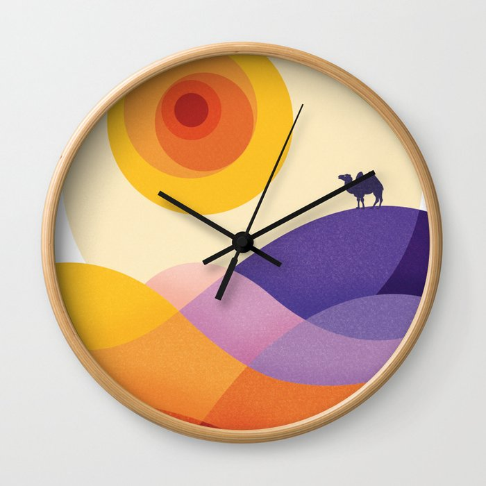 Sun, Desert, Waves of Sand and Camel Wall Clock