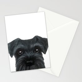 New Black Schnauzer, Dog illustration original painting print Stationery Cards