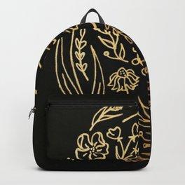 Golden Autumnal Equinox Oval Shaped Floral Illustration Backpack