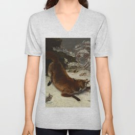 """Gustave Courbet """"Fox in the Snow"""" Unisex V-Neck"""