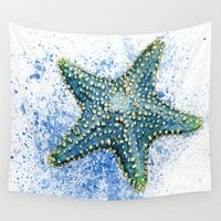 starfish Wall Tapestries featuring Blue Starfish by Priscilla George