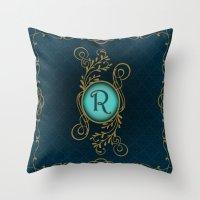 monogram Throw Pillows featuring Monogram R by Britta Glodde
