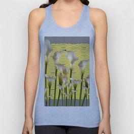 Grey & Yellow Pattern Calla Lilies Art Unisex Tank Top
