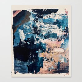 Sweetly: a bohemian, abstract work on paper in blue, pink, white, and gold Canvas Print
