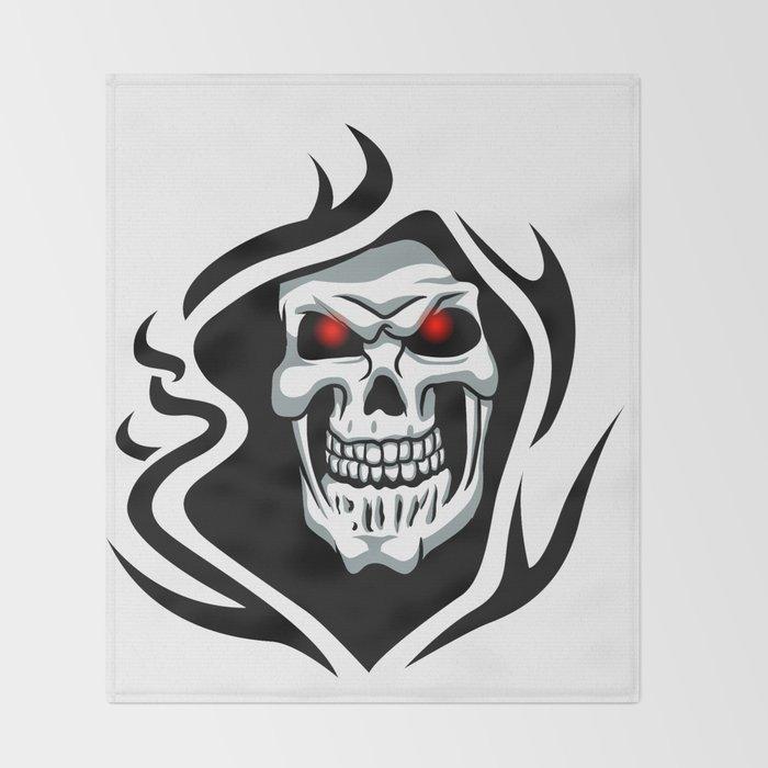 Skull tribal tattoo Throw Blanket
