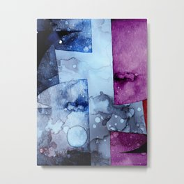 Abstract Watercolor Art Purple and Blue Metal Print