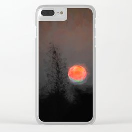 Blood Moon with Green Tinge Clear iPhone Case