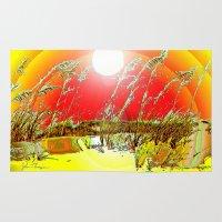 dune Area & Throw Rugs featuring Sun  Dune by JT Digital Art