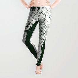 New York City White on Green Street Map Leggings