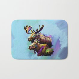 Colorful Moose Bath Mat