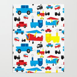Cute Colorful Planes, Trains and Cars Pattern Poster