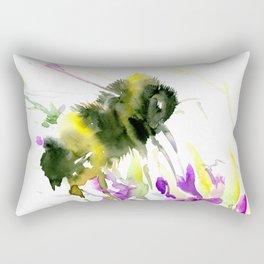 Bumblebee and Flowers floral bee design Rectangular Pillow