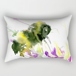 Bumblebee and Flowers floral bee design Rectangular Pillow