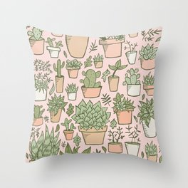 Potted Plants Print Throw Pillow