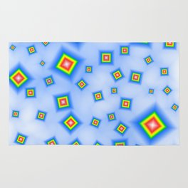 Pattern of disorganized multicolored paintings Rug