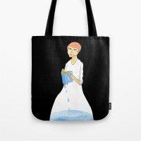 murakami Tote Bags featuring Reader by gunberk