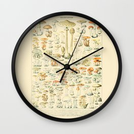 Mushrooms // Champignons III by Adolphe Millot 19th Century Science Textbook Diagram Artwork Wall Clock