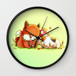 Bookish Fox and Cat Friends Wall Clock