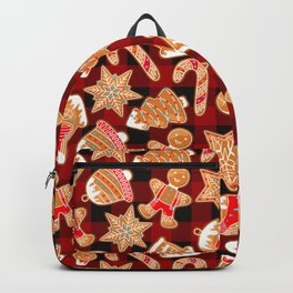 Christmas Ginger Bread Cookie Biscuit Candy Cane Buffalo Plaid Xmas Pattern (red and black) Backpack