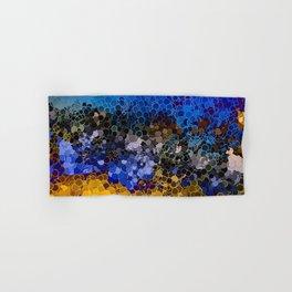 Blue and Summer Gold Circular Abstract Art Hand & Bath Towel
