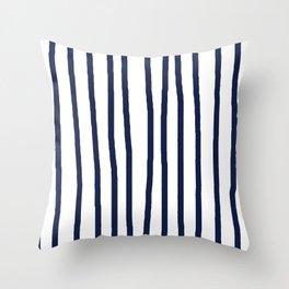 Simply Drawn Vertical Stripes Nautical Navy Blue on White Throw Pillow