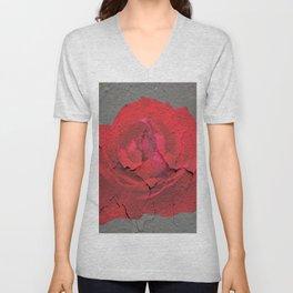 SHABBY CHIC RED ROSE GARDEN  GREY ART Unisex V-Neck
