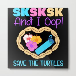 Recycling Save Mother Earth Turtles Metal Print