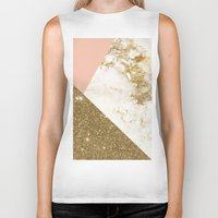 marble Biker Tanks featuring Gold marble collage by cafelab