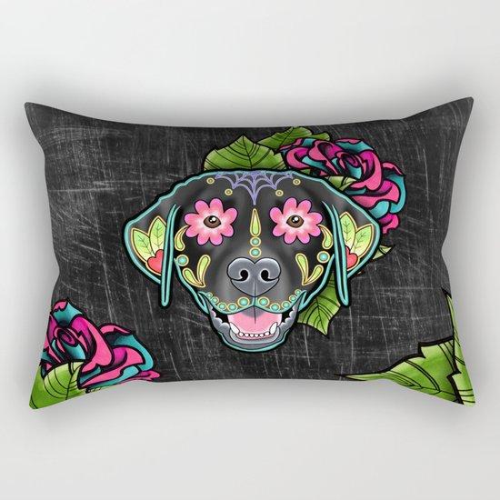 Labrador Retriever - Black Lab - Day of the Dead Sugar Skull Dog by prettyinink