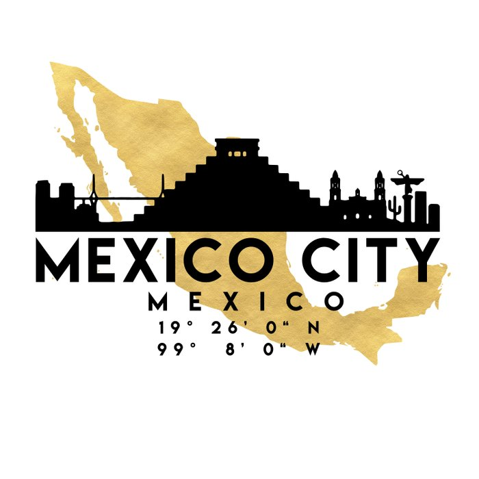 MEXICO CITY MEXICO SILHOUETTE SKYLINE MAP ART Comforters