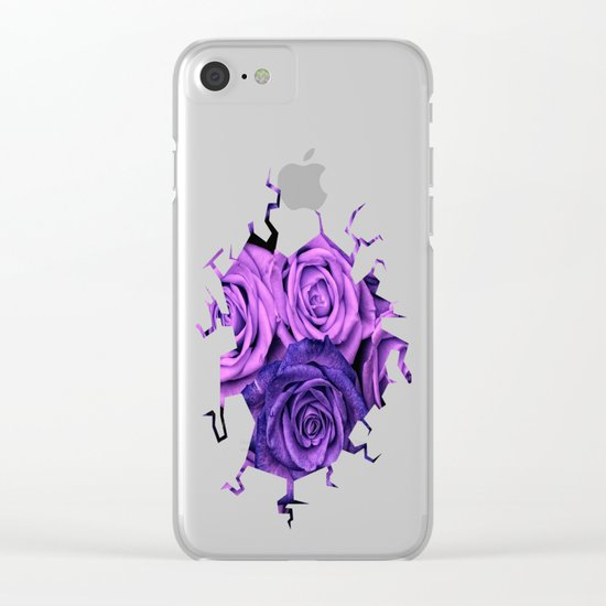Purple Roses Clear iPhone Case
