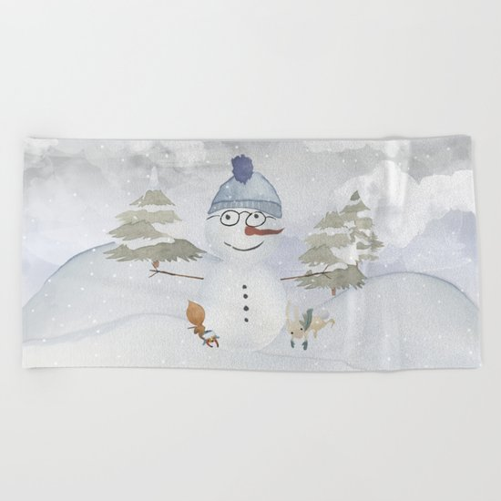 Winter Wonderland- Funny Snowman and friends - Watercolor illustration Beach Towel
