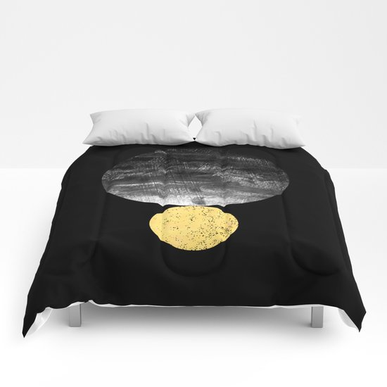 Orson - minimal black and gold modern marble abstract painting dark skywatching galaxy planets space Comforters