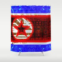 korea Shower Curtains featuring circuit board North Korea (flag) by seb mcnulty