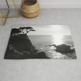 Lone Cypress in black and white Rug