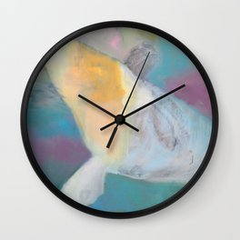 """""""whale fall"""" abstract painting in teal, purple, cream, white, and gold Wall Clock"""