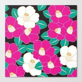 Shades of Tsubaki - Pink & Black Canvas Print