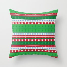 Santa's Special Delivery Repeating Pattern Throw Pillow