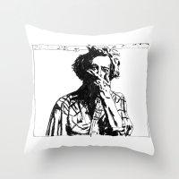bon iver Throw Pillows featuring Bon Iver by Sara Pålsson
