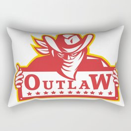 Outlaw Holding Sign Retro Rectangular Pillow