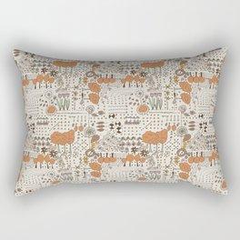 Ditsy Garden in brown Rectangular Pillow