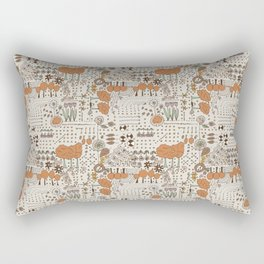 Ditsy Garden in brown Rectangular Pillow