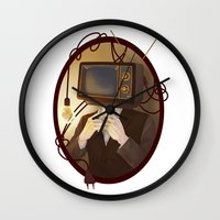 tv Wall Clocks featuring TELEVISION by FISHNONES