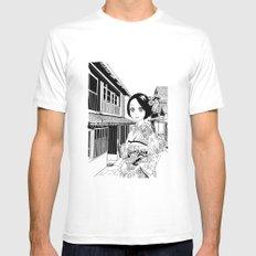 Kimono girl (manga style drawing) MEDIUM White Mens Fitted Tee