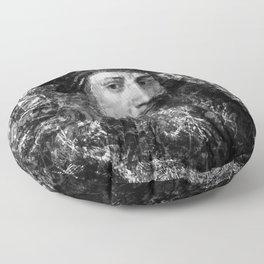 LEONARDO DA VINCI (BLACK & WHITE VERSION) Floor Pillow
